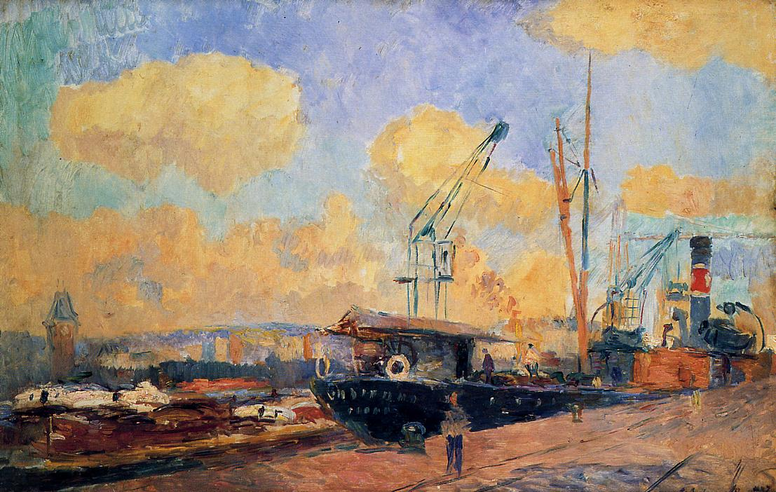 Steamers and Barges in the Port of Rouen Sunset 1907 | Albert Lebourg | Oil Painting