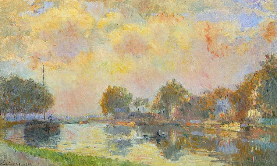The Banks of the Canal at Charenton Sunny Autumn Afternoon 1909 | Albert Lebourg | Oil Painting