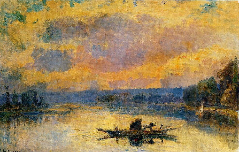 The Ferry at Bouille Sunset   Albert Lebourg   Oil Painting