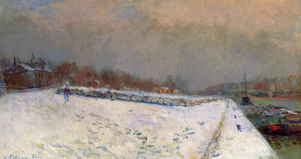The Port of Bercy in Winter Snow Effect | Albert Lebourg | Oil Painting