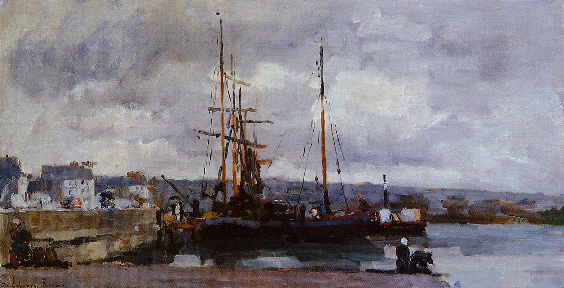 The Port of Rouen Grey Weather 1885   Albert Lebourg   Oil Painting