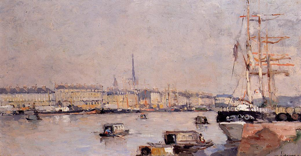 The Port of Rouen with Cathedral 1885-1890 | Albert Lebourg | Oil Painting