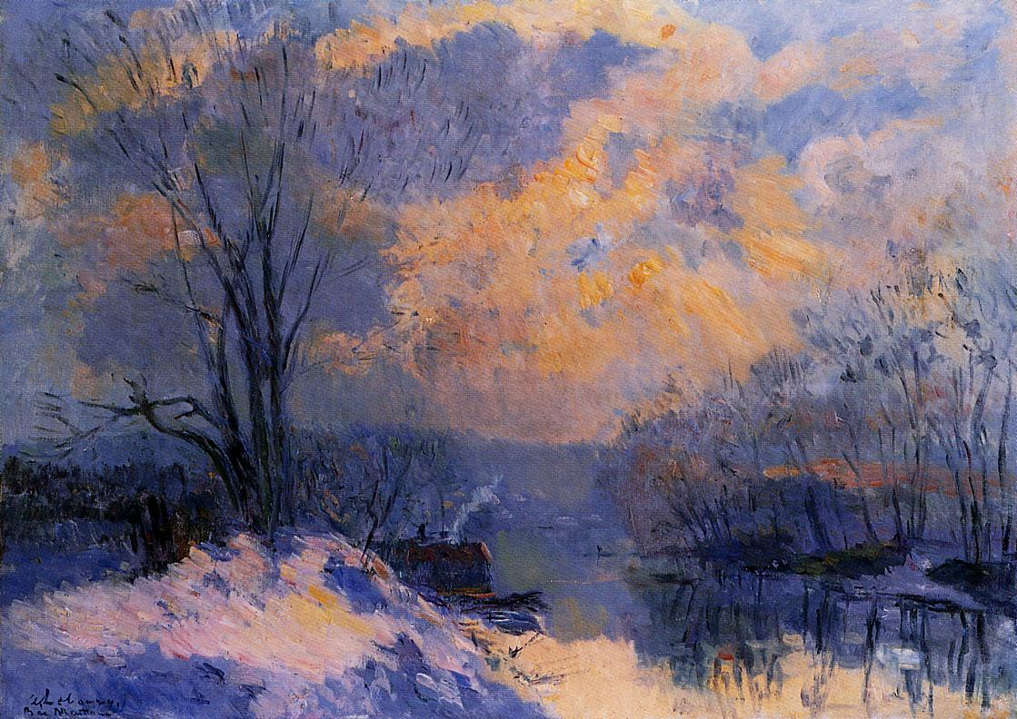 The Small Branch of the Seine at Bas-Meudon Snow and Wiinter Sun 1910 | Albert Lebourg | Oil Painting