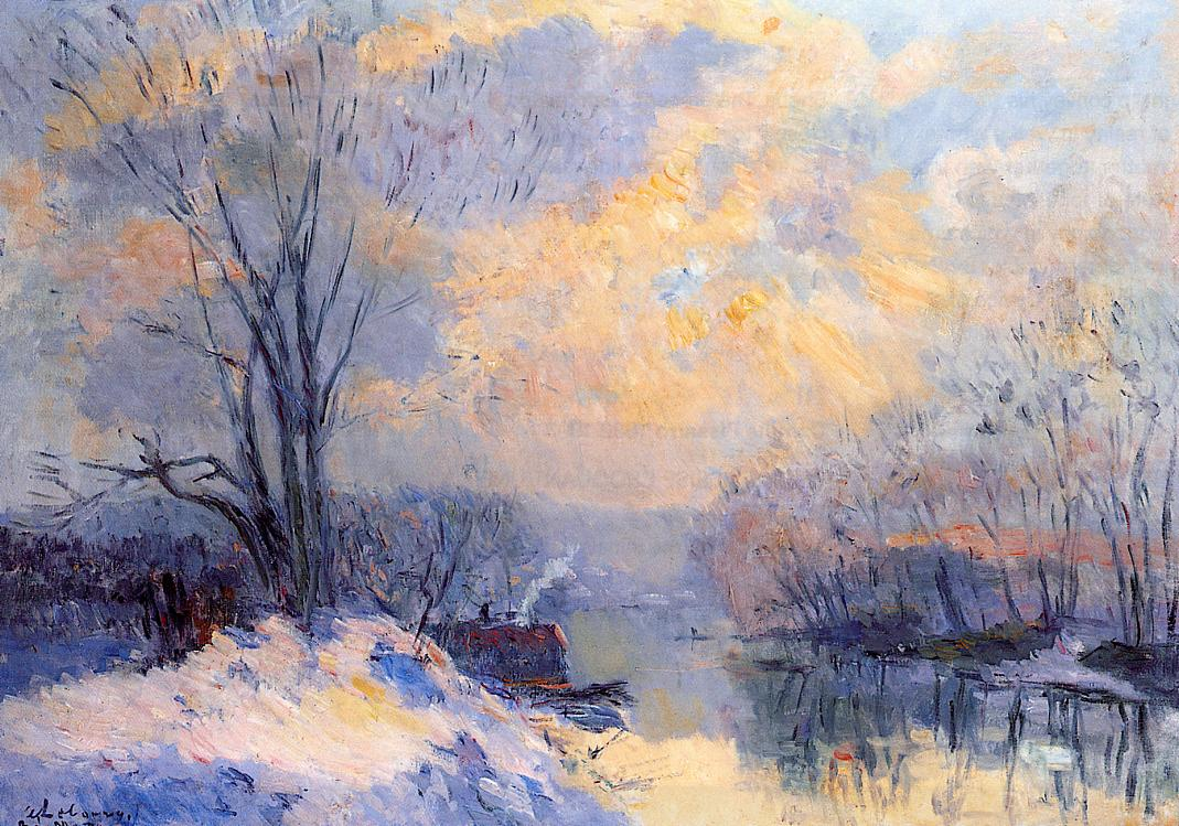 The Small Branch of the Seine at Bas Meudon Snow and Sunlight | Albert Lebourg | Oil Painting