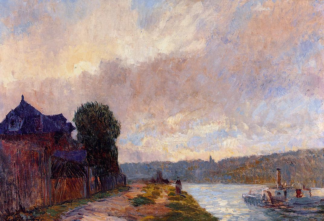 Tugboat on the Seine Downstream from Rouen | Albert Lebourg | Oil Painting