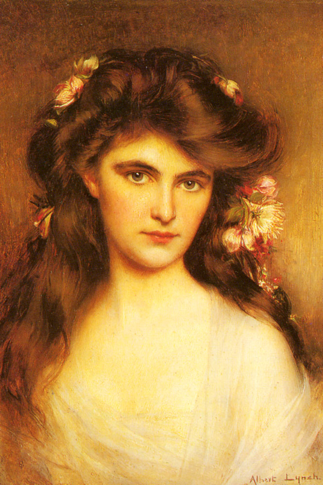 A Young Beauty With Flowers In Her Hair | Albert Lynch | Oil Painting
