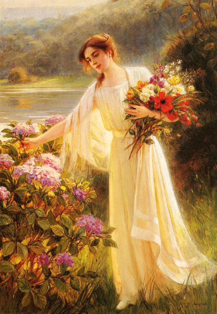Gathering Flowers | Albert Lynch | Oil Painting