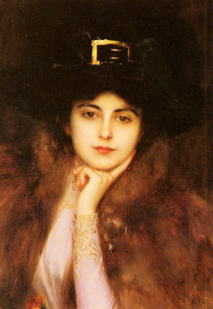Portrait Of An Elegant Lady | Albert Lynch | Oil Painting