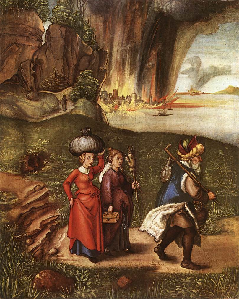 Lot Fleeing With His Daughters From Sodom 1498 | Albrecht Durer | Oil Painting