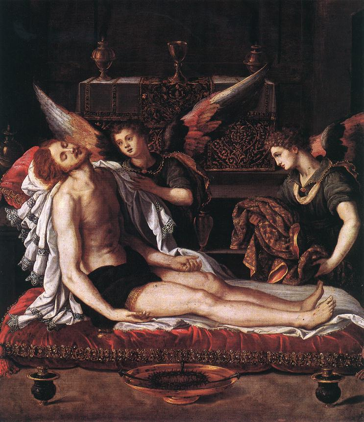 The Body Of Christ With Two Angels | Alessandro Allori | Oil Painting