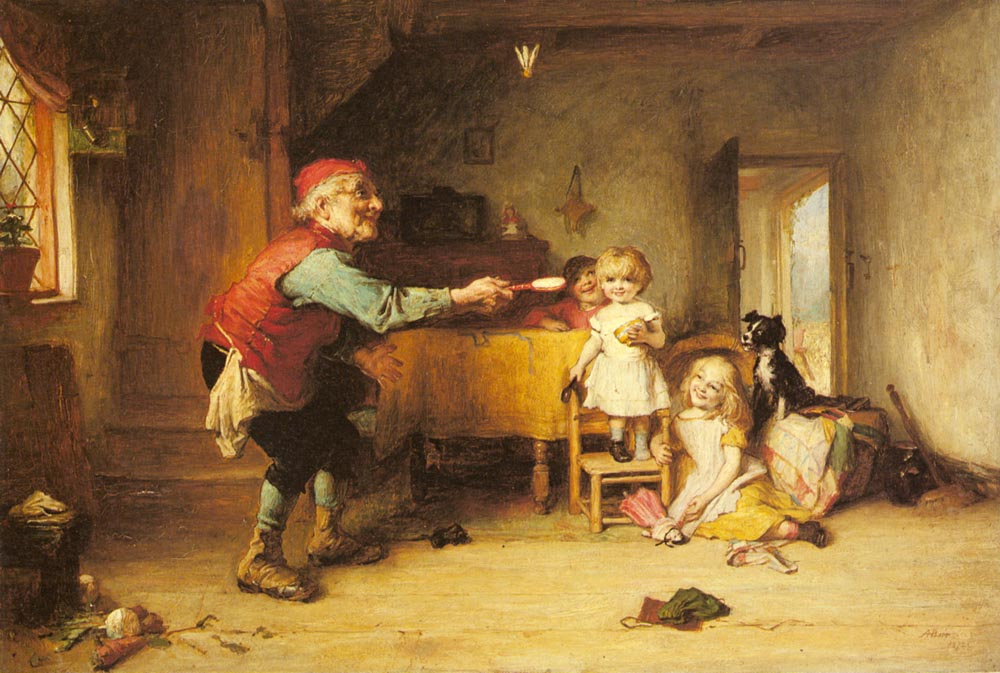 Games With Grandfather   Alexander Hohenlohe Burr   Oil Painting