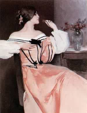 Lady In A Pink Dress | John White Alexander | Oil Painting