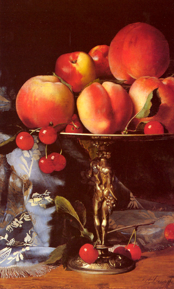 A Still Life With Peaches Plums And Cherries | Alexandre Blaise Desgoffe | Oil Painting