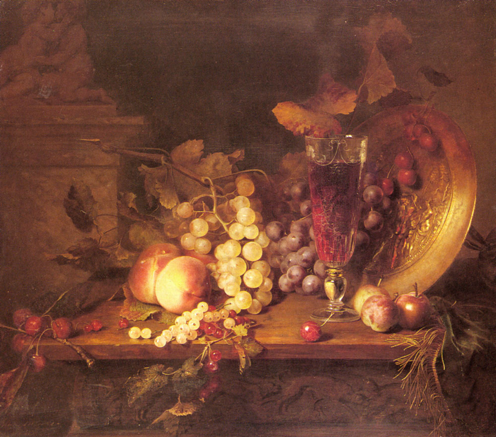 Still Life With Fruit A Glass Of Wine And A | Alexandre Blaise Desgoffe | Oil Painting
