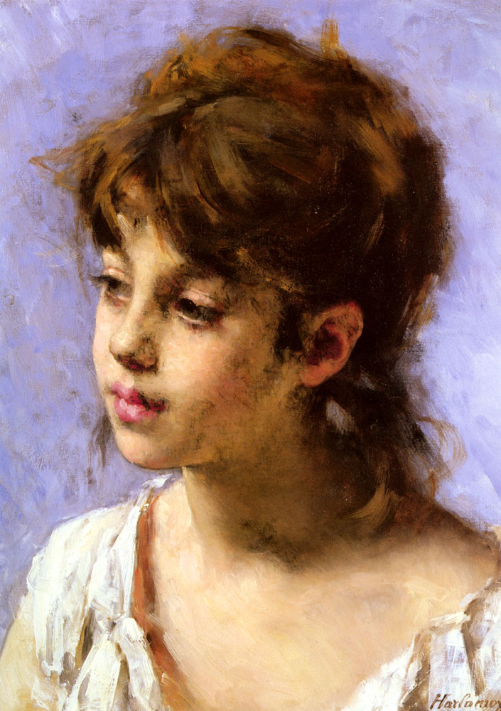 Portrait Of A Peasant Girl | Alexei Alexeivich Harlamoff | Oil Painting