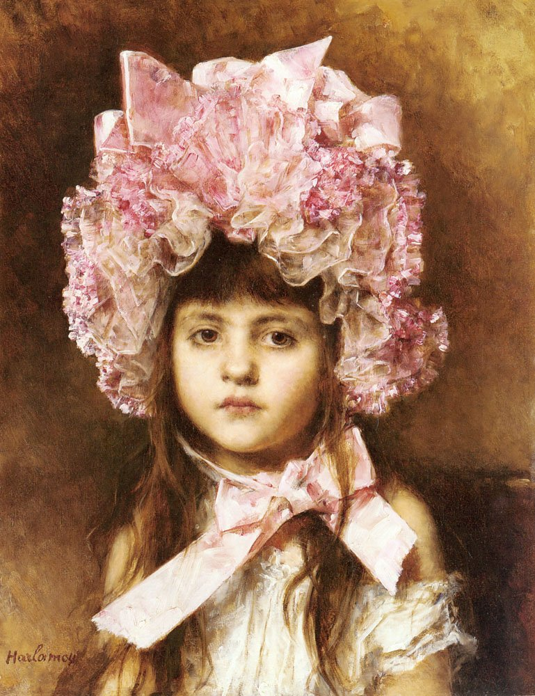 The Pink Bonnet | Alexei Alexeivich Harlamoff | Oil Painting