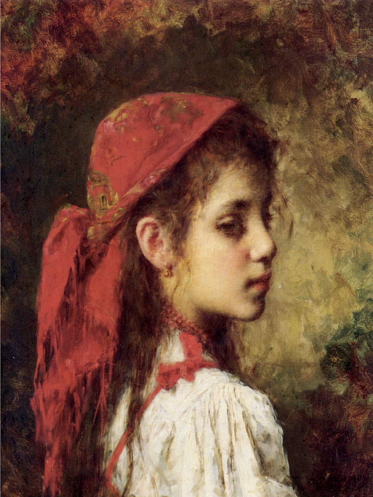 Portrait of a Young Girl in A Red Kerchief | Alexei Alexeivich Harlamoff | Oil Painting