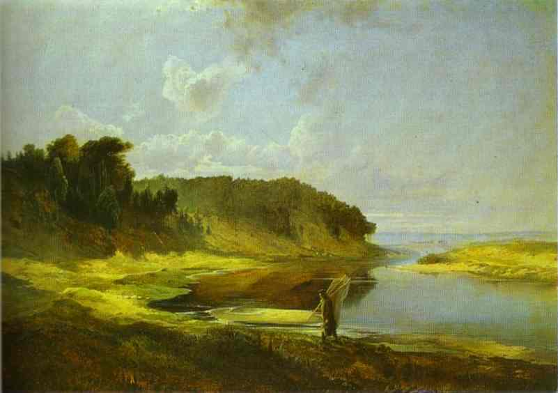 Landscape With A River And An Angler 1859 | Alexey Savrasov | Oil Painting