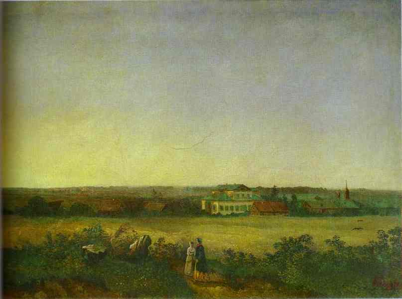 View In The Vicinity Of Moscow With A Mansion And Two Female Figures 1850 | Alexey Savrasov | Oil Painting