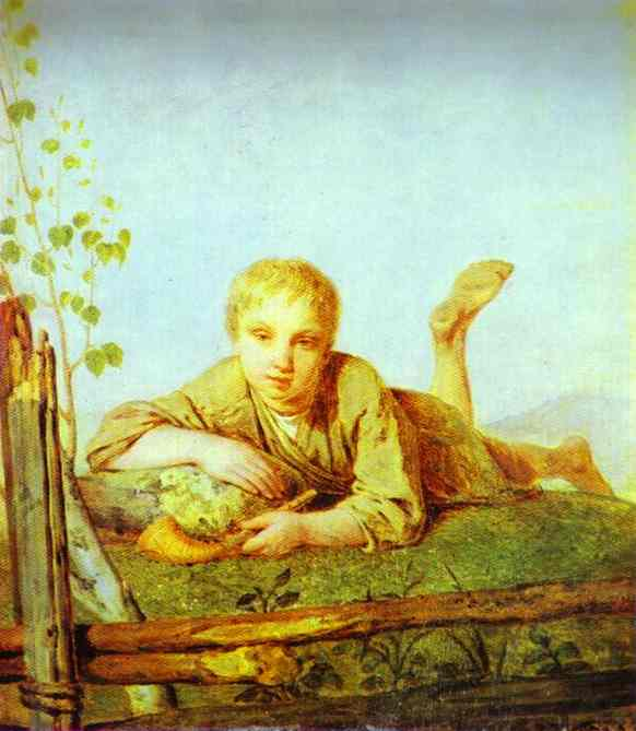 A Herd Boy With A Pipe 1820s | Alexey Venetsianov | Oil Painting