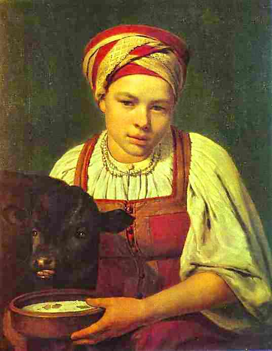 A Peasant Girl With A Calf 1820s | Alexey Venetsianov | Oil Painting