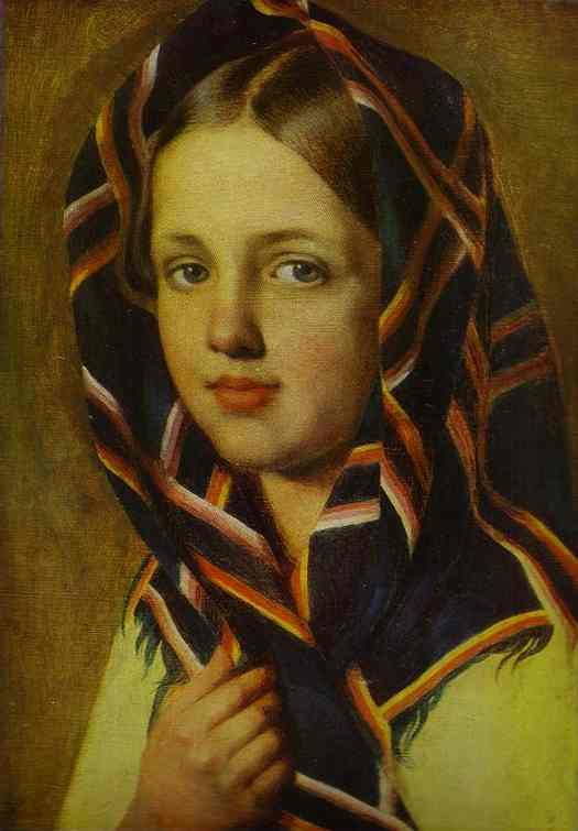 Girl In A Kerchief 1830s | Alexey Venetsianov | Oil Painting