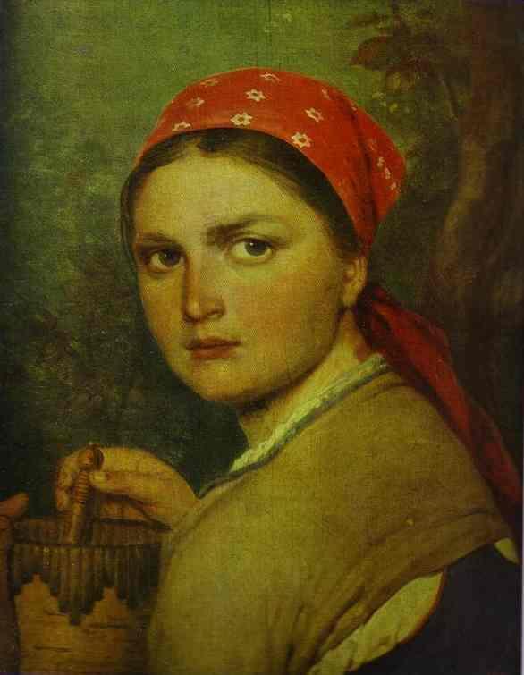 Girl With The Birchen Basket 1824 | Alexey Venetsianov | Oil Painting