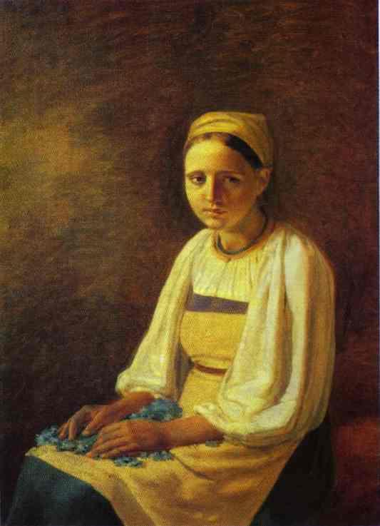 Girl With The Cornflowers 1820s | Alexey Venetsianov | Oil Painting