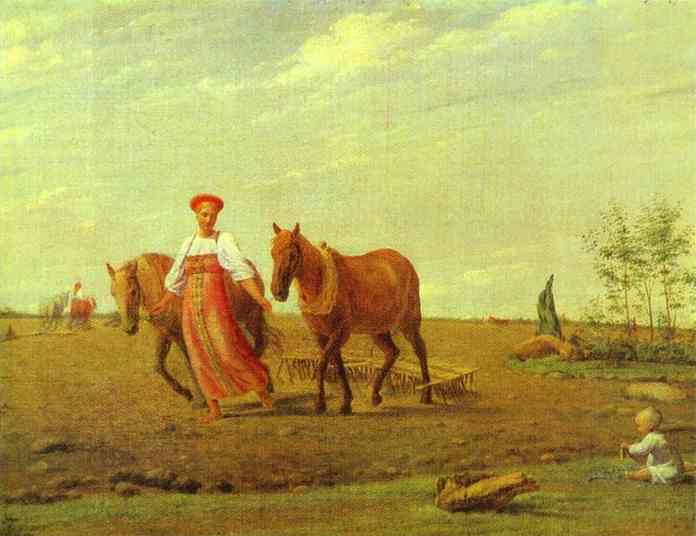 In The Fields Spring 1827 | Alexey Venetsianov | Oil Painting