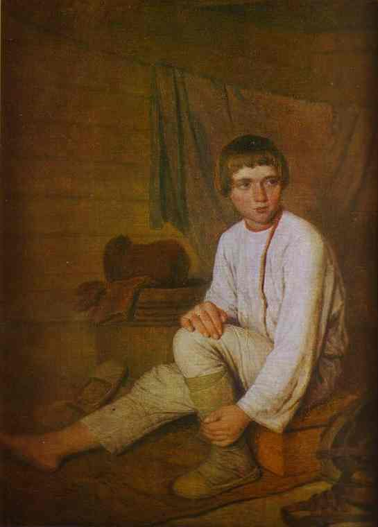 Peasant Boy Putting On Bast Sandals 1823-1827 | Alexey Venetsianov | Oil Painting