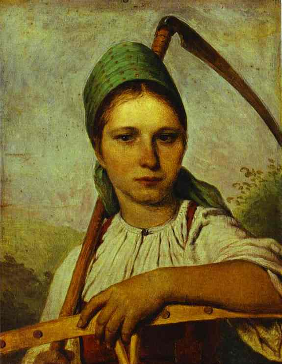 Pelageya Peasant Woman With Scythe And Rake About 1825 | Alexey Venetsianov | Oil Painting