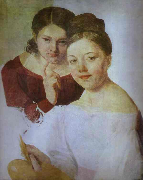 Portrait Of Artists Daughters Alexandra And Felisata 1830s | Alexey Venetsianov | Oil Painting