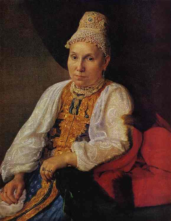 Portrait Of The Merchants Wife Obraztsova 1830s | Alexey Venetsianov | Oil Painting