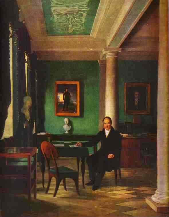 Portrait Of The State Chancellor Of The Internal Affairs Prince Victor Pavlovich Kochubey In His Study 1831-1834 | Alexey Venetsianov | Oil Painting