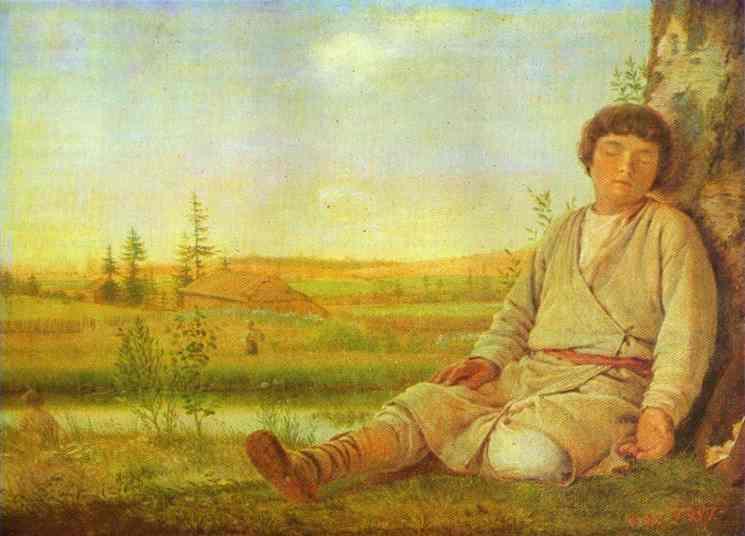 Sleeping Herd Boy 1824   Alexey Venetsianov   Oil Painting