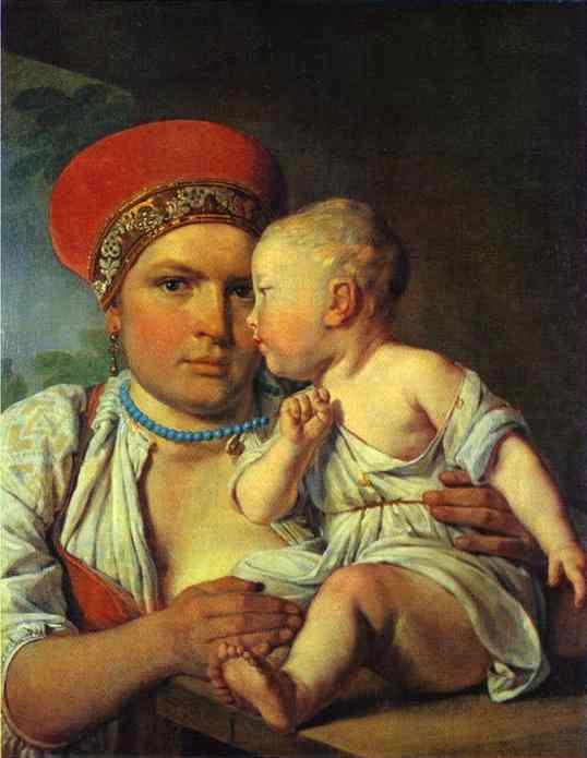 Wet Nurse With A Child 1830 | Alexey Venetsianov | Oil Painting