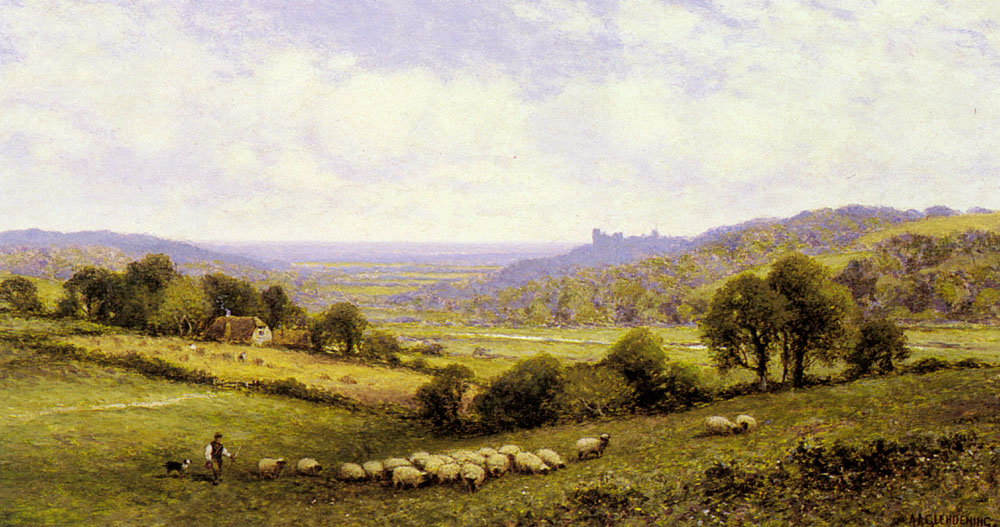 Augustus Near Amberley Sussex With Arundel Castle In The Distance | Alfred Glendening | Oil Painting