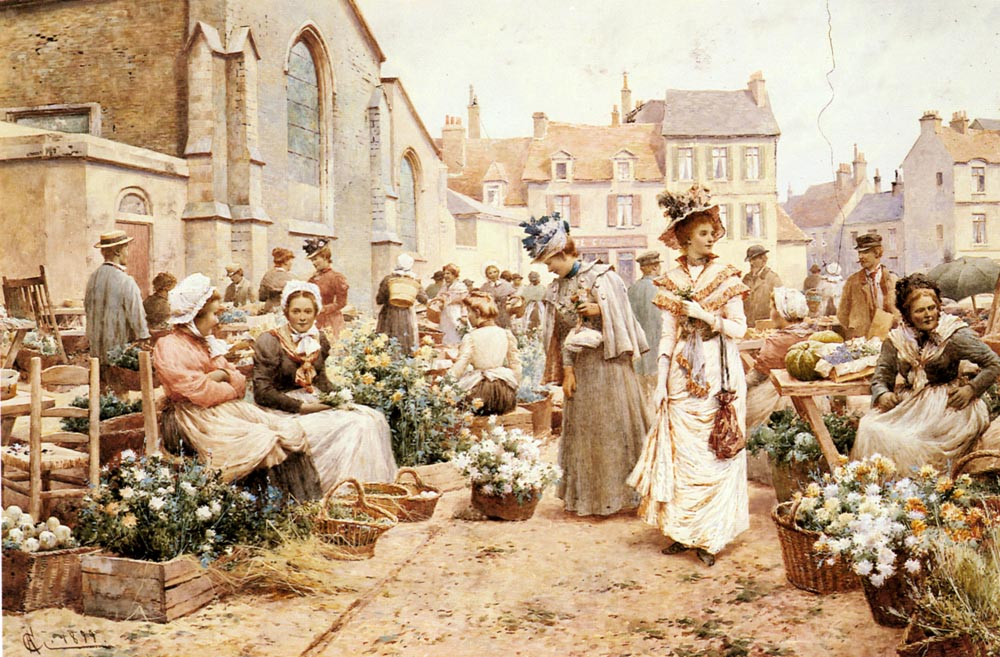 Augustus Flower Market In A French Town | Alfred Glendening | Oil Painting