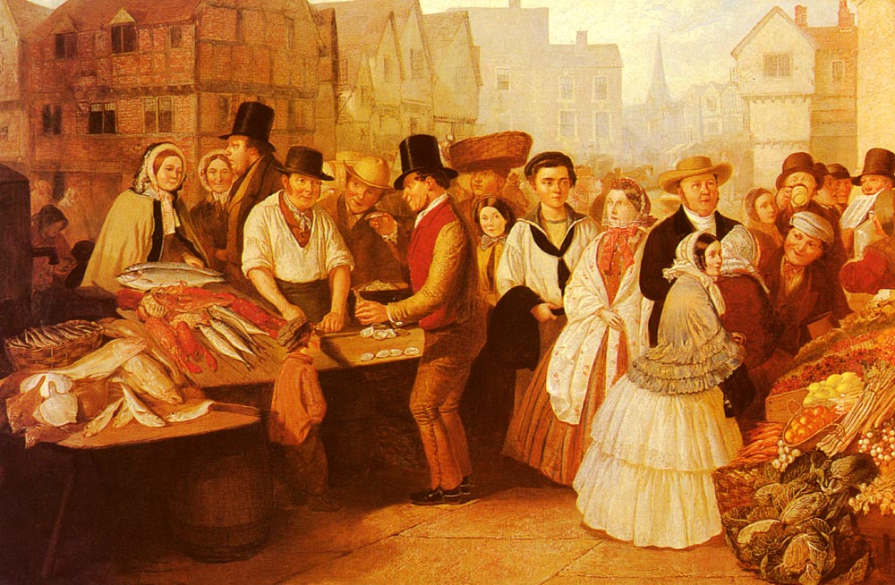 A Busy Market   Alfred H Green   Oil Painting