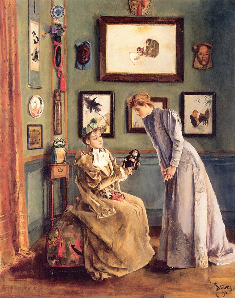 Femme a la Poupee Japonaise | Alfred Stevens | Oil Painting