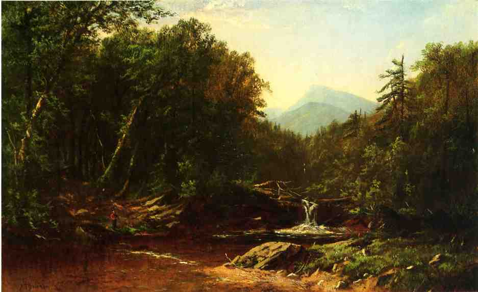 Fisherman by a Mountain Stream | Alfred Thompson Bricher | Oil Painting