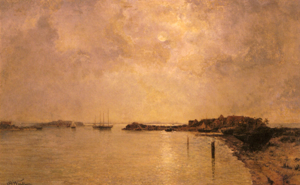 Coastal Village by Moonlight | Alfred Wahlberg | Oil Painting