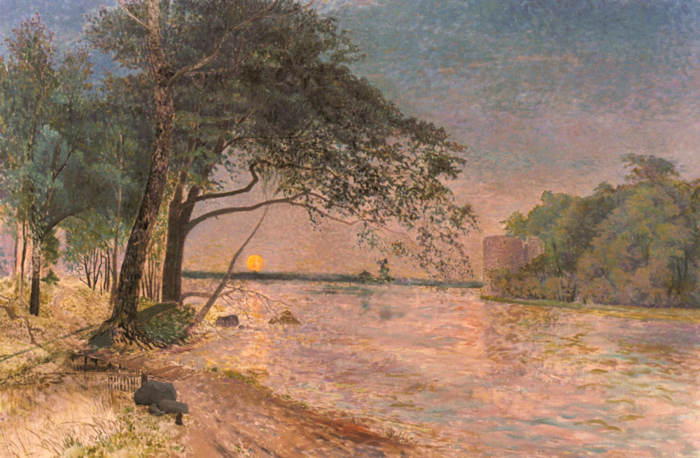View of Kronenberg Castle at Sunset   Alfred Wahlberg   Oil Painting