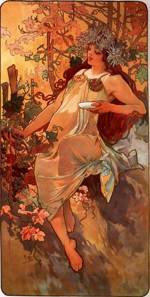 Autumn 1896 panel | Alphonse Mucha | Oil Painting