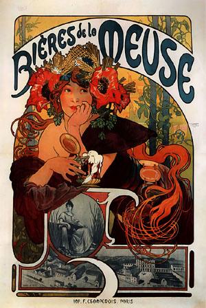Bieres de la Meuse 1897 | Alphonse Mucha | Oil Painting