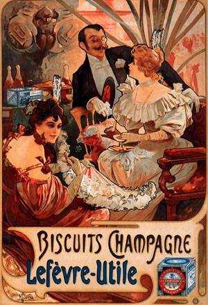 Biscuits Champagne-Lefevre-Utile 1896 | Alphonse Mucha | Oil Painting