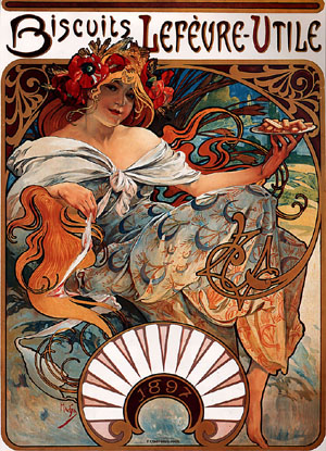 Biscuits Lefevre-Utile 1896 | Alphonse Mucha | Oil Painting