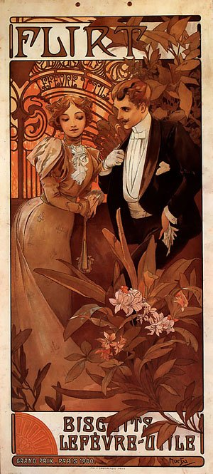 Flirt 1899 | Alphonse Mucha | Oil Painting