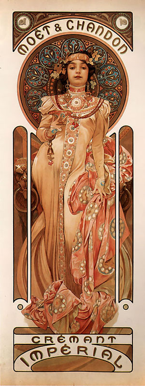 Moet and Chandon Cremant Imperial 1899 | Alphonse Mucha | Oil Painting