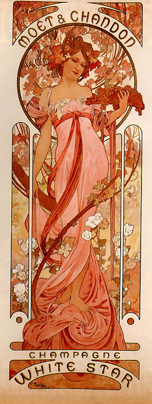 Moet and Chandon White Star 1899 | Alphonse Mucha | Oil Painting